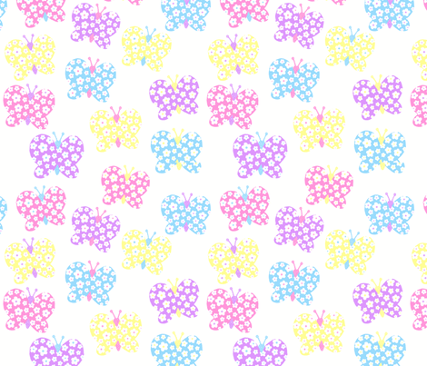 Bright Pastel Flower Butterfly fabric by free_spirit_designs on Spoonflower - custom fabric