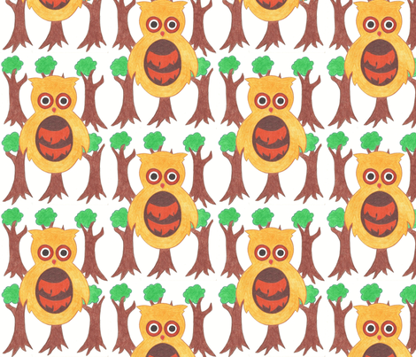 Woodland Owlets fabric by lettie_belle on Spoonflower - custom fabric