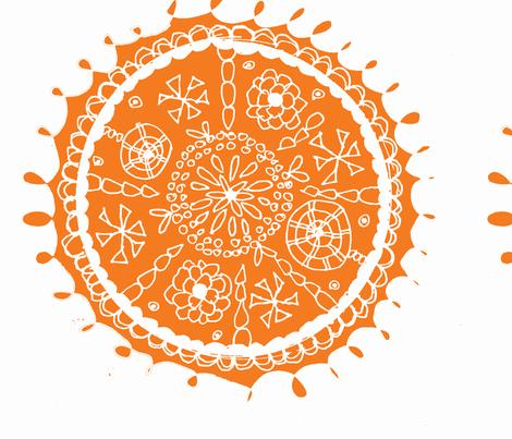 Folk inspired Orange Flower fabric by artthatmoves on Spoonflower - custom fabric