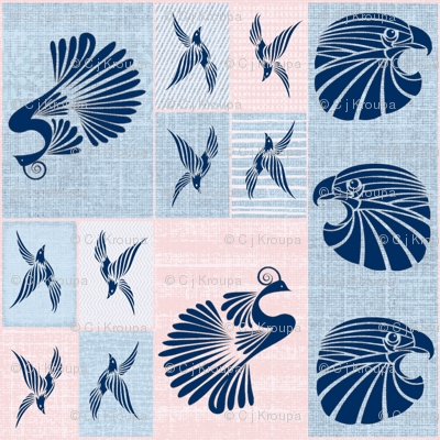Tribal Bird Quilt (Denim)