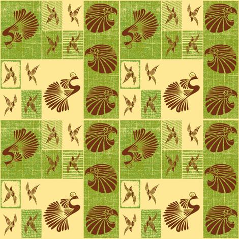 Tribal Bird Quilt (Olive) fabric by ravynscache on Spoonflower - custom fabric