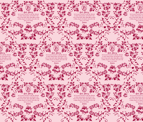Hail Mary Toile fabric by magneticcatholic on Spoonflower - custom fabric