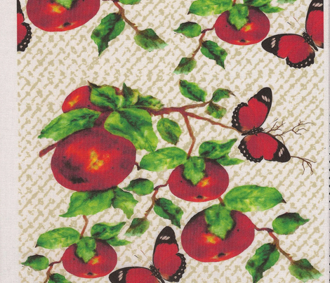Butterflies and Apples on linen