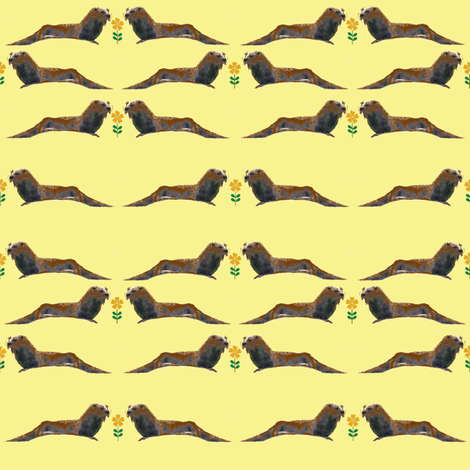 Otters with Flowers (Yellow) fabric by ravynscache on Spoonflower - custom fabric