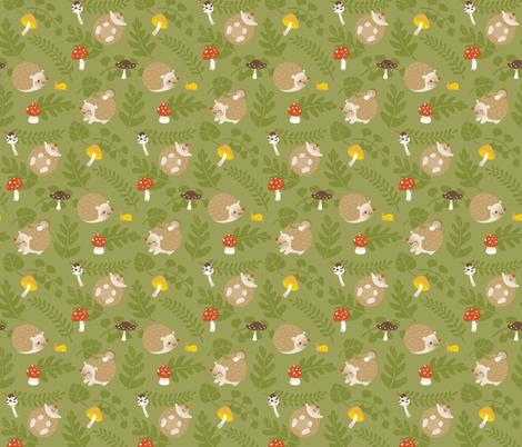 Hedgehogs and mushrooms fabric by macywong on Spoonflower - custom fabric
