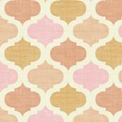 Linen tile Pink & Orange