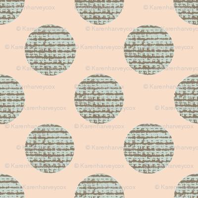 Green Polka Dots on Peach