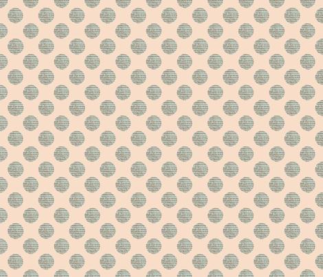 Green Polka Dots on Peach fabric by karenharveycox on Spoonflower - custom fabric