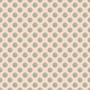 Green Polka Dots on Peach