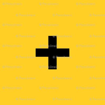 Black Cross Plus on Yellow