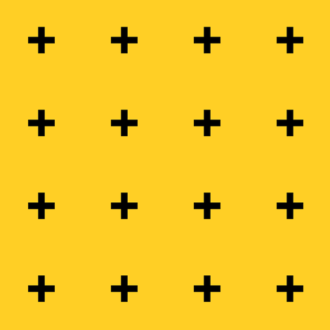 Black Cross Plus on Yellow fabric by pencilmein on Spoonflower - custom fabric