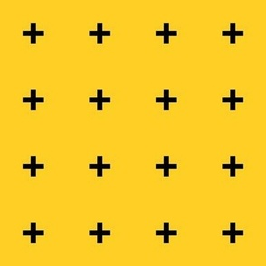 Black Cross Plus on Yellow
