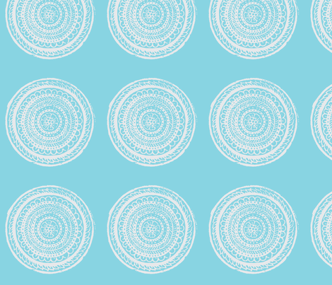 Circular Woodblock Floral Pattern in Blue and White fabric by artthatmoves on Spoonflower - custom fabric