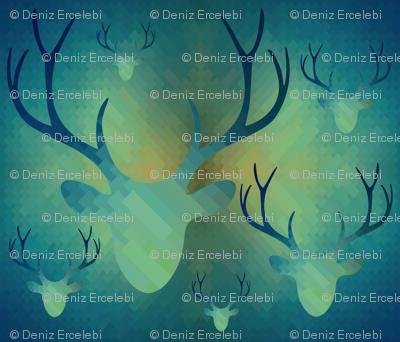 Aqua Antlers Pattern