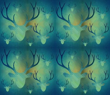 Aqua Antlers Pattern fabric by dnzsea on Spoonflower - custom fabric