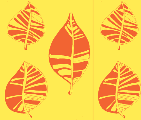 Sunny yellow stylized leaf fabric by artthatmoves on Spoonflower - custom fabric