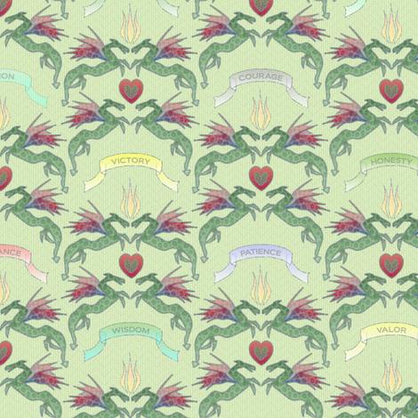 dragon_damask_mint fabric by glimmericks on Spoonflower - custom fabric