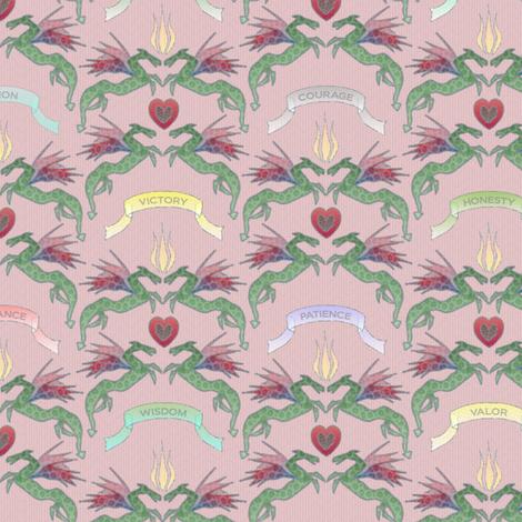 dragon_damask_blush fabric by glimmericks on Spoonflower - custom fabric