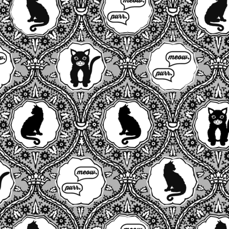 Grey cat damask fabric by allisonkreftdesigns on Spoonflower - custom fabric