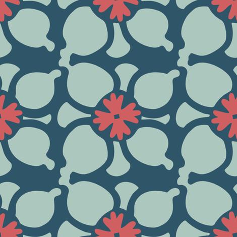 Flower Combo Dark Blue fabric by kathyjuriss on Spoonflower - custom fabric
