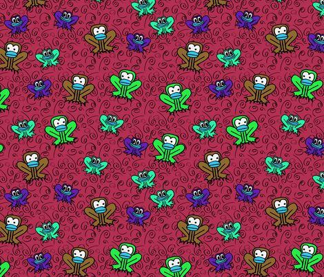 z3 - Frogs in Red Wine fabric by henriyoki on Spoonflower - custom fabric