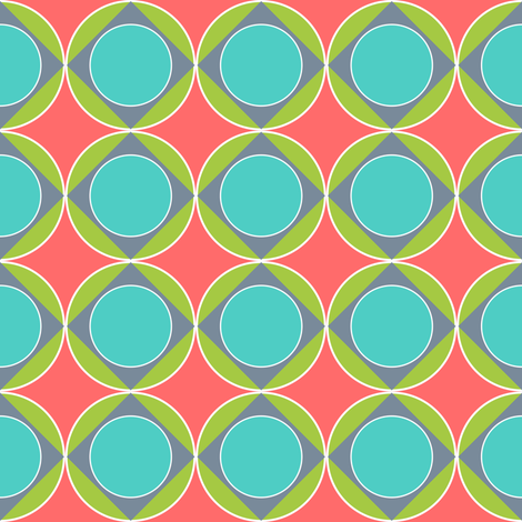 Circle in the Square Coral fabric by vo_aka_virginiao on Spoonflower - custom fabric