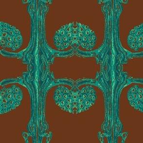 Art Nouveau35-teal/brown