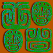 Green Blue Rough Tiki
