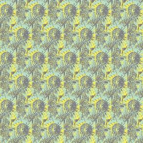 Pincushion Protea- teal/yellow