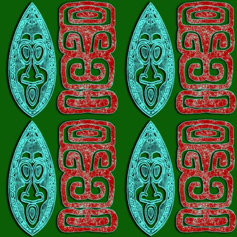 BlueRedGreenTiki fabric by gene_s_morgan on Spoonflower - custom fabric