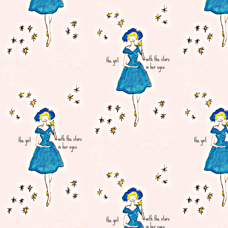 The girl with the stars in her eyes - mini fabric by bettieblue_designs on Spoonflower - custom fabric