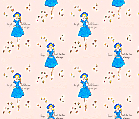 The girl with the stars in her eyes -large fabric by bettieblue_designs on Spoonflower - custom fabric
