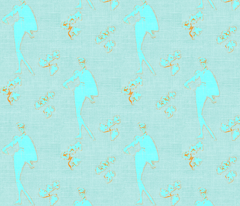 Glasses Make the Girl -Aqua fabric by bettieblue_designs on Spoonflower - custom fabric