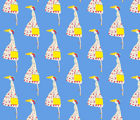 The Girl with the Yellow Satchel fabric by bettieblue_designs on Spoonflower - custom fabric