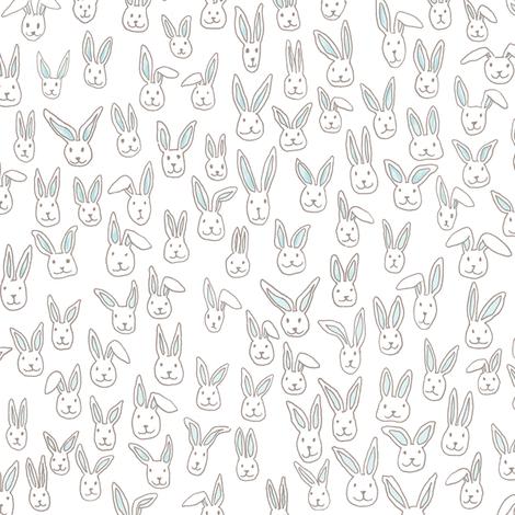 Bunny Pile (white) fabric by georgenasenior on Spoonflower - custom fabric