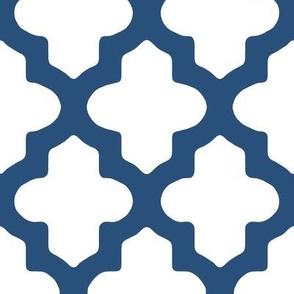 Moroccan Quatrefoil in Navy Blue