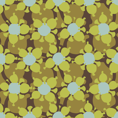 Bubble Flower Olive fabric by kathyjuriss on Spoonflower - custom fabric