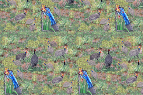 African Helmet Guinea Fowl by Sylvie fabric by house_of_heasman on Spoonflower - custom fabric