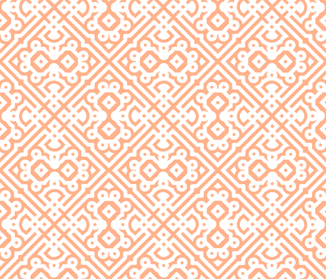 Modern Embroidered Labyrinth in Peach Nectarine fabric by fridabarlow on Spoonflower - custom fabric