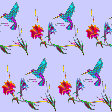 hummingbird on blue fabric by krs_expressions on Spoonflower - custom fabric