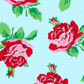Summer Cottage - Roses on Aqua