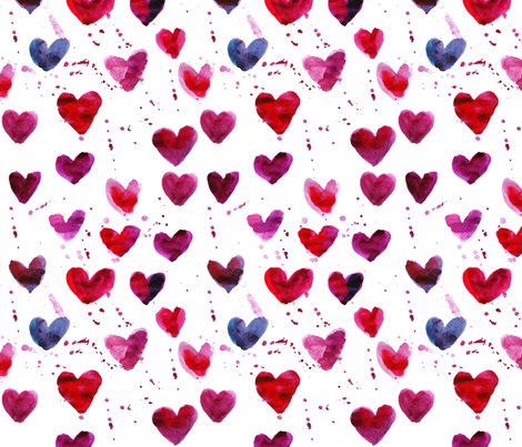 Watercolor hearts fabric by anastasiia-ku on Spoonflower - custom fabric