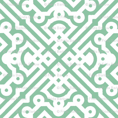 Modern Embroidered Labyrinth in Mint