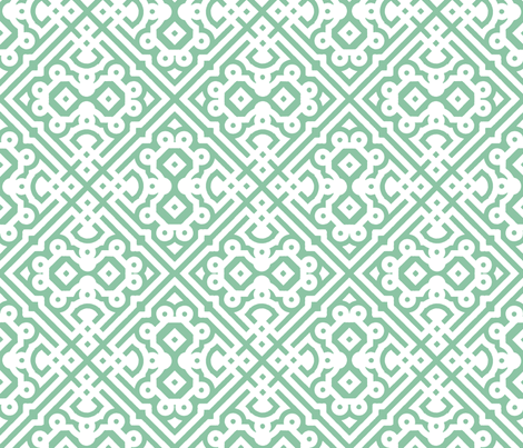 Modern Embroidered Labyrinth in Mint fabric by pearl&phire on Spoonflower - custom fabric