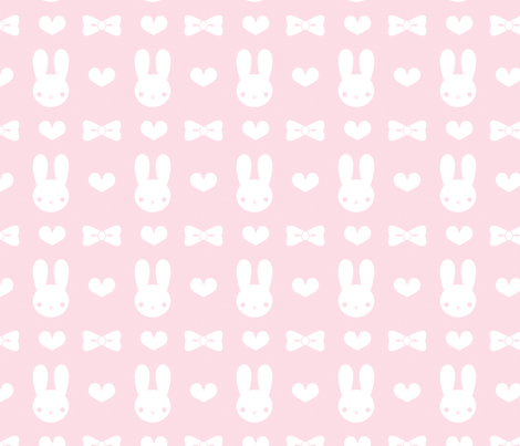 Pretty Bunny Pattern-Pink fabric by noctyink on Spoonflower - custom fabric