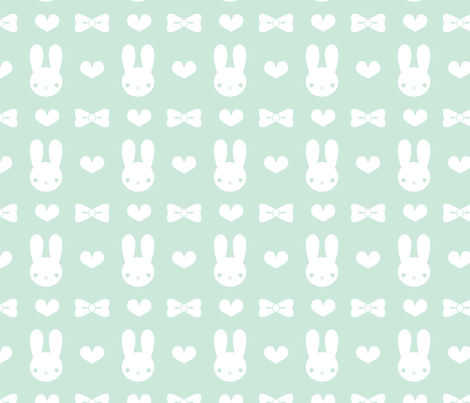 Pretty Bunny Pattern-Mint fabric by noctyink on Spoonflower - custom fabric