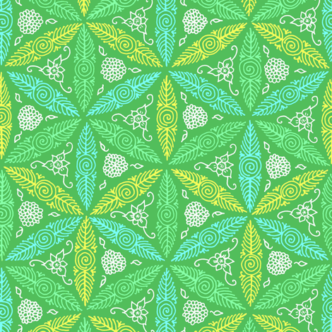 pysanky floral in green fabric by weavingmajor on Spoonflower - custom fabric