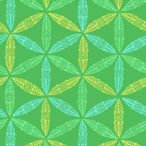 pysanky triangles in green
