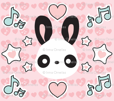 Cute Kawaii Musical Bunny Panda in Pink
