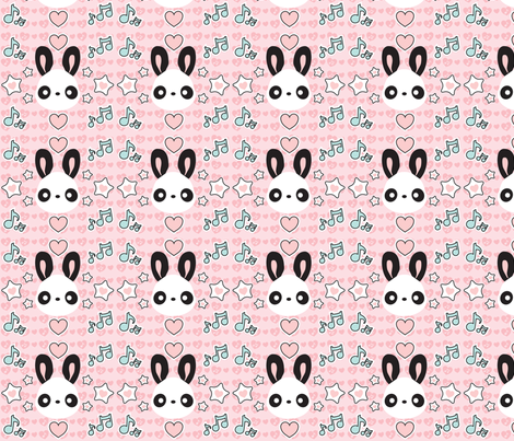 Cute Kawaii Musical Bunny Panda in Pink fabric by noctyink on Spoonflower - custom fabric